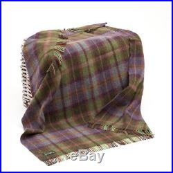 Large Pure Wool Plaid Blanket Throw 54 x 72 Made in Ireland by John Hanly 187