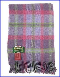 Large Pure Wool Plaid Blanket Throw 54 x 72 Made in Ireland by John Hanly 188