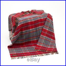 Large Red Wool Plaid Blanket Throw 54 x 72 Made in Ireland by John Hanly 180