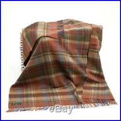Large Rust Wool Plaid Blanket Throw 54 x 72 Made in Ireland by John Hanly 153