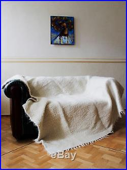 Large White Throw For Sofa Bed Throw Blanket 100% Wool Plaid King Size Warm