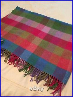 Lovely Avoca The Mill Throw Blanket Wool Sm Squares Scrumptious Colors 73 x 60