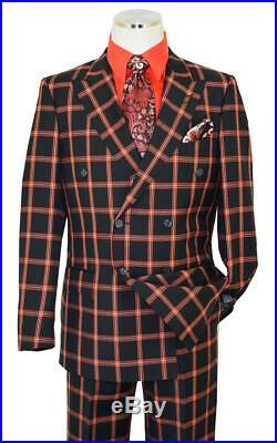 Luciano Black/Red Windowpane Plaid Double Breast Wool Wide Leg Nice Suit 42L