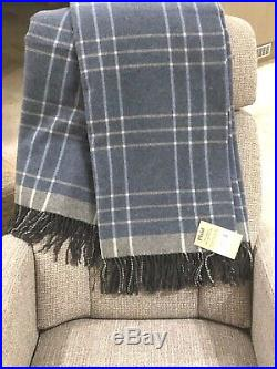 MERINO WOOL BLANKETS WITH CASHMERE, WOOL THROW, PLAID, SIZE 55 x79 In, ECO, NEW