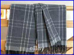 MERINO WOOL BLANKETS WITH CASHMERE, WOOL THROW, PLAID, SIZE 55 x 79 In, ECO, NEW
