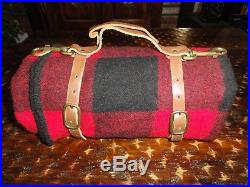Marlboro Country Store Red Plaid Wool Blanket Leather Roll-Up Straps USA Camping
