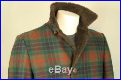 Men's PENDLETON Western Wool Plaid Blanket Coat Jacket w Faux Fur Quilted Lining