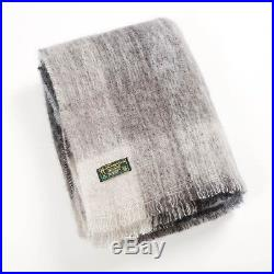 Mohair Wool Blanket Throw gray black Plaid by John Hanly sm514 Made in Ireland