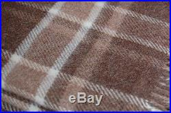 NATURAL Collection ALPACA Wool Brown Plaid THROW Blanket 55x 75 Made in EU