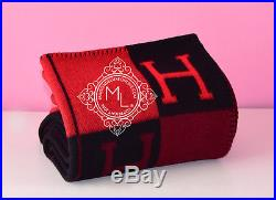 New Hermes Large Plaid Rouge Red Noir Black Wool Cashmere H Avalon Blanket Throw