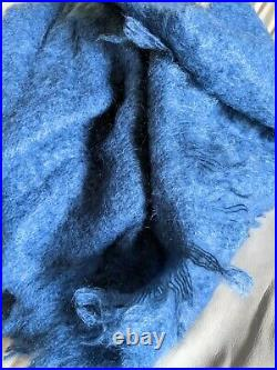 NWOT Beautiful Soft & Warm Blanket Throw Soft MOHAIR WOOL Turquoise 57 x 69