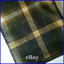 NWOT Pendleton Wool Plaid Queen Blanket Washable Oxford Grey Gold Made in USA