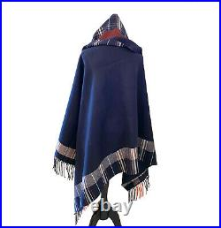 NWT ALEXANDER MCQUEEN Check Plaid Reversible Blanket Shawl scarf Navy Red