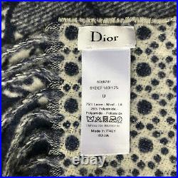 NWT Christian DIOR Wool PLAID La Force CRUISE 2020 NAVY WHITE Châle BLANKET New