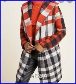 NWT LARGE Anthropologie Field Flower Cressida Wool Sweater Coat Plaid Red L