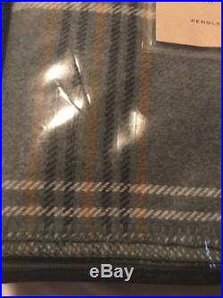 NWT PENDLETON WOOL BLANKET QUEEN BLANKET WASHABLE SHALE BLUE PLAID Made In USA
