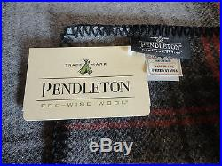 NWT PENDLETON WOOL KING BLANKET WASHABLE Grey Steward Plaid MADE IN THE USA