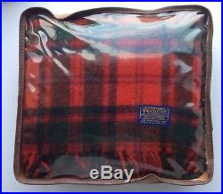 NWT Pendleton Fringed Wool Throw Blanket Plaid with carrying bag and cushion RARE