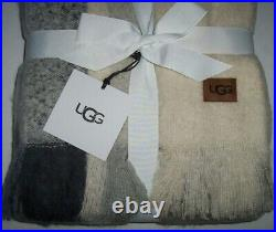 NWT UGG Colton Ivory/OMBRE GRAY Plaid Wool-Blend Throw Blanket 50 x 70 LOVELY