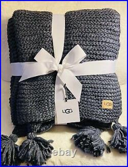 NWT UGG PAOLA Throw Knit Blanket 50 X 70 Color Denim/Navy MSRP- $168.00