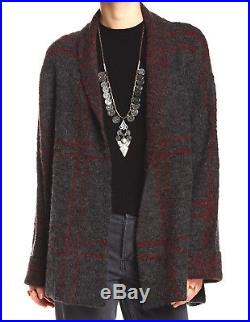 New $198 FREE PEOPLE Gray Red Speckled Windowpane Plaid Boho Blanket Sweater XS