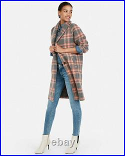 New Express $198 Gray Plaid Wool Blend Blanket Knit Cocoon Coat Sz L Large