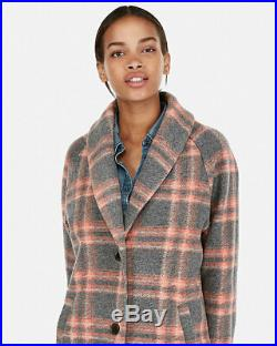New Express $198 Gray Plaid Wool Blend Blanket Knit Cocoon Coat Sz S Small