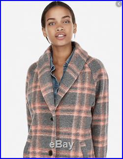 New Express Womens Plaid Blanket Knit Cocoon Coat Gray Pink Wool Blend Sz Small