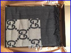 New GUCCI Brown Plaid Wool/Cashmere GG Logo Throw Blanket 204541