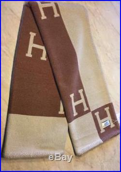 New Hermes Classic Large Brown Wool Cashmere H Avalon Blanket Decke Plaid