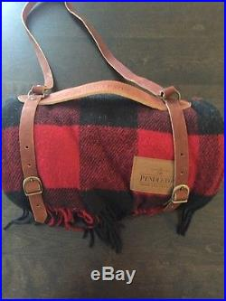 New PENDLETON Blanket Throw Leather Carrier 54 x 66 RED PLAID 100% Wool MADE USA