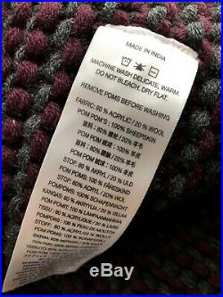 New UGG Snow Creek Wool Blend Pom Pom Knot Two Color Throw Plaid Blanket