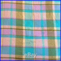 New Zealand Plaid Pastel Wool Queen Size Vintage Blanket Blue Green Pink Purple