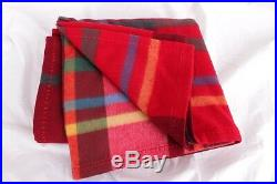 New williams sonoma Plaid lambswool throw wool blanket 50x70 Red Holiday