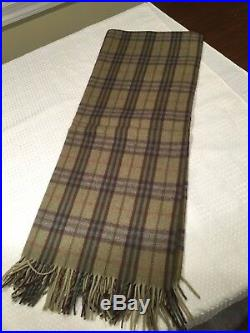 New with Tags JOHN HANLY 100% Lambs Wool 67 X 54 Green Plaid CheckThrow Blanket