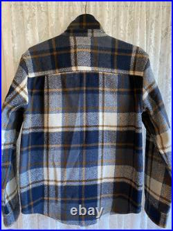 OUTERKNOWN Mens Highland Wool Blanket L/S Shirt, Indigo Cypress Plaid Size L