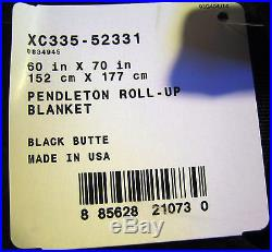 PENDLETON Roll Up Wool Blanket Black Butte 60x70 Outdoor/Car NEW with TAGS