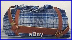 Pendleton 100% Wool Camp Blanket Fringe Throw Blue Plaid Leather Strap USA A12
