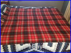 Pendleton Blanket 100 % Wool Red Black Gray Plaid Throw Camp Fringed 52 X 68