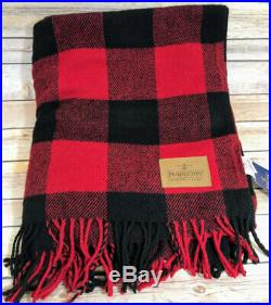 Pendleton Blanket Motor Robe Rob Roy Red Plaid Wool 52 x 66 Leather Carrier USA