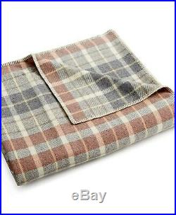 Pendleton Eco-Wise Washable 100% Pure Virgin Wool Plaid Blanket QUEEN Red / Gray