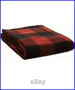 Pendleton Eco Wise Washable Wool Rob Roy QUEEN Bed Blanket Red / Black Checked