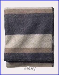 Pendleton Eco-Wise Wool Plaid/Stripe Blanket King Size New in Bag navy/cream