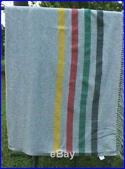 Pendleton Gray Wool Striped Throw Blanket 64 x 54 Fringed Made in USA