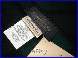 Pendleton King Blanket BLACK WATCH TARTAN GREEN Wool Washable NEW $480 MADE USA