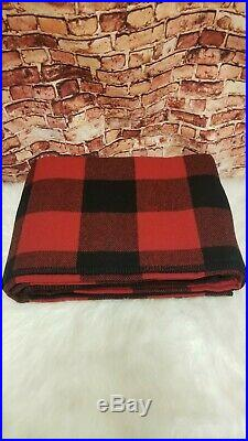 Pendleton King Eco-wise Washable Rob Roy Plaid Red 100% Wool Blanket 108 X 96 In