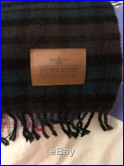 Pendleton Motor Throw With Leather Carrier 100% Wool Made In USA Green/Brown Plaid