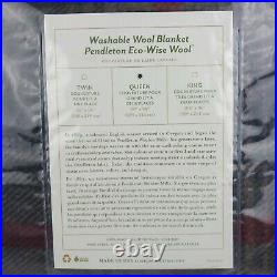 Pendleton Washable Eco-Wise Wool Queen Bed Blanket 90 x 96 Waverly Plaid Oxford