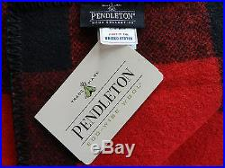 Pendleton Wool Blanket NWT King Red/Black Washable Picnic Couch Bed Made In USA
