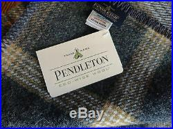 Pendleton Wool Blanket Queen NWT Eco-Wise Washable Oxford Grey Plaid Made in USA